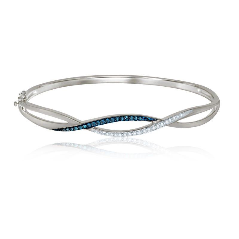 Blue & White Diamond ¼ct. Bangle Bracelet