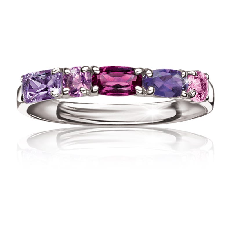 Multi-Gemstone Stackable Ring in Sterling Silver