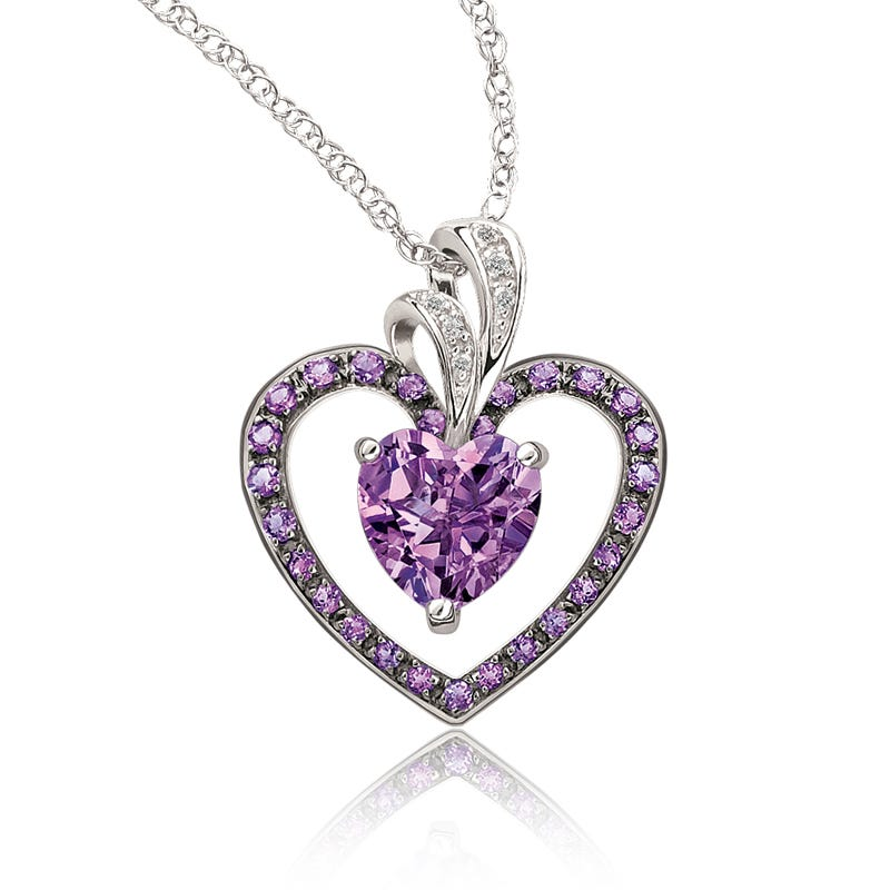 Amethyst Double Heart & Diamond Pendant