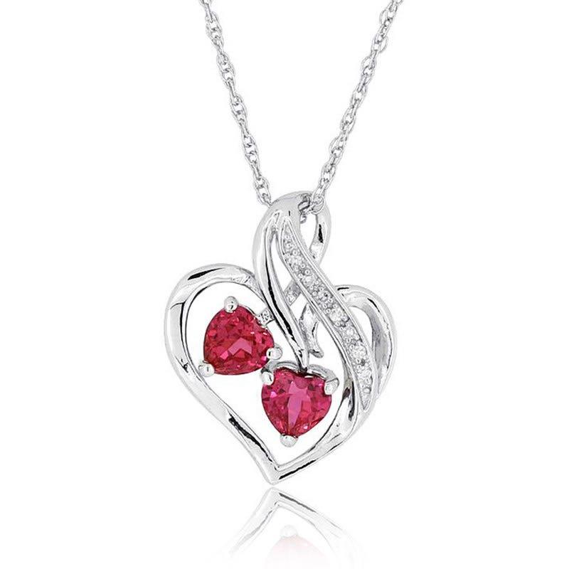 Created Ruby Double Heart & Diamond Pendant