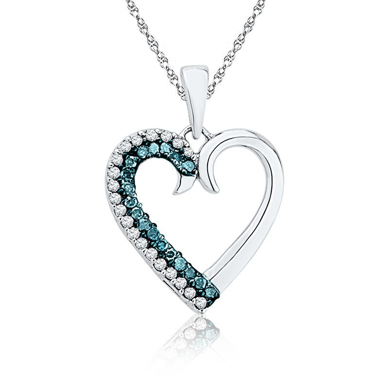 Blue & White Diamond Heart Pendant 1/6ct. T.W.