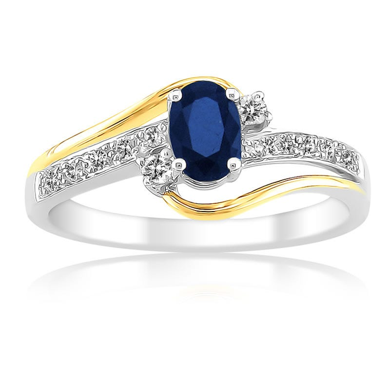 Oval Blue Sapphire Gemstone Diamond 10K Gold Ring