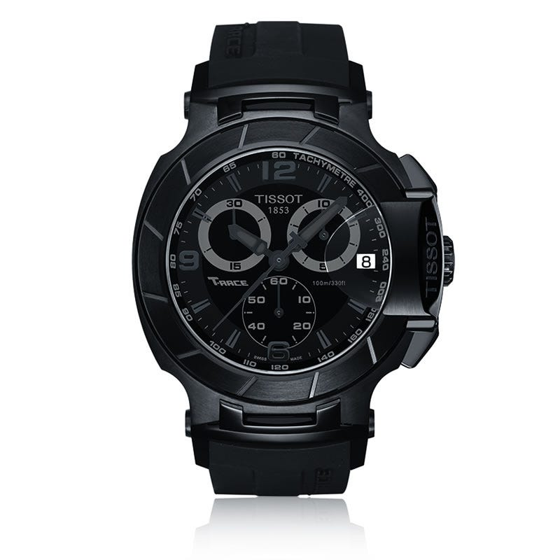 Tissot T-Race Men's Black Quartz Chronograph Sport Watch With Black Rubber Strap T0484173705700