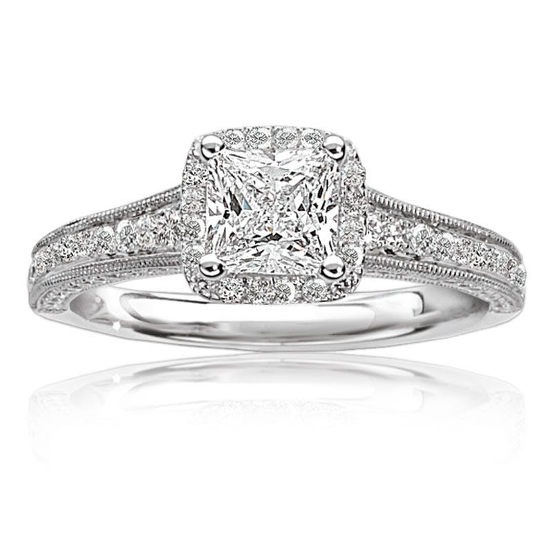 Karena. Princess-Cut Diamond Halo Engagement Ring in 14k White Gold