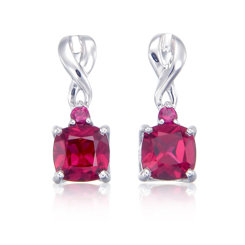 Created Ruby Drop Twist Earrings in Sterling Silver