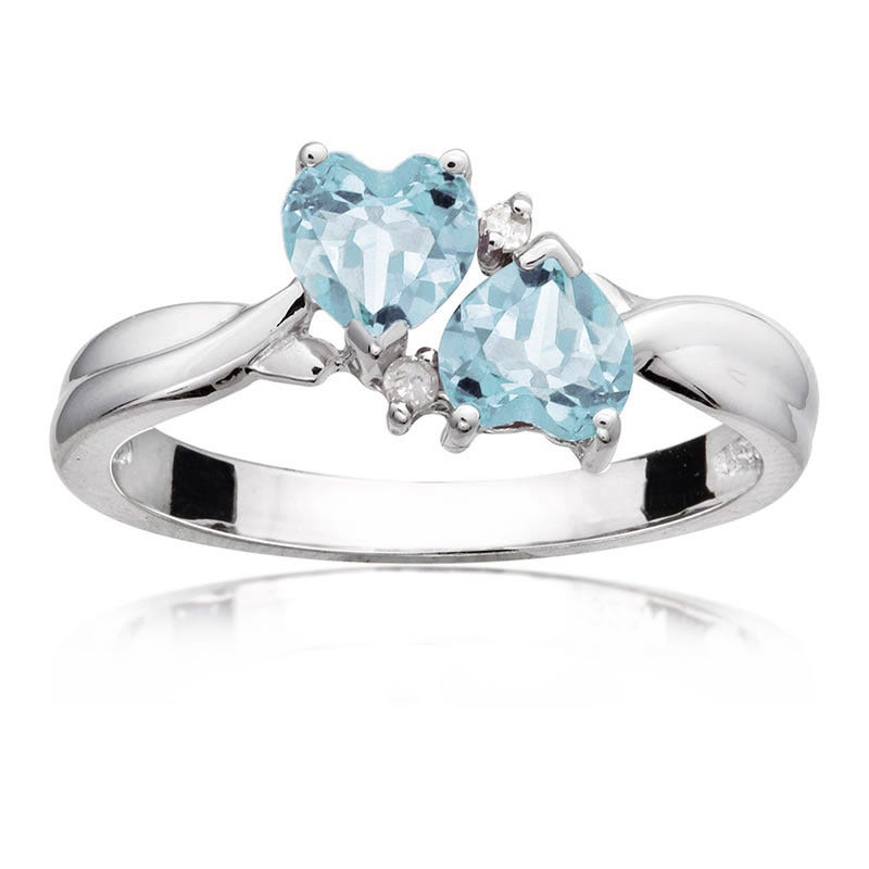 Aquamarine Double Heart Diamond Ring in Sterling Silver