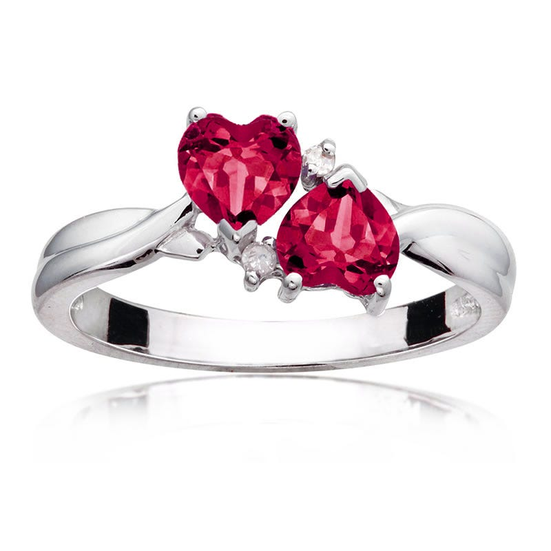 Ruby & Diamond Double Heart Ring in Sterling Silver