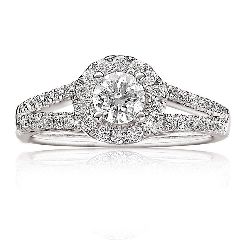 Talina. 1ctw. Pavé Diamond Brilliant-Cut Engagement Ring 14k White Gold