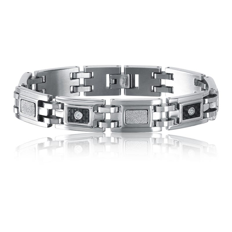 Men's Diamond Stainless Steel & Black Carbon Fiber Bracelet