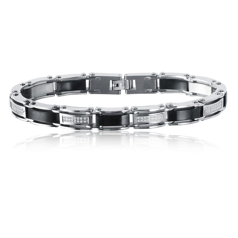 Men's Diamond & Black Ion-Plated Bracelet