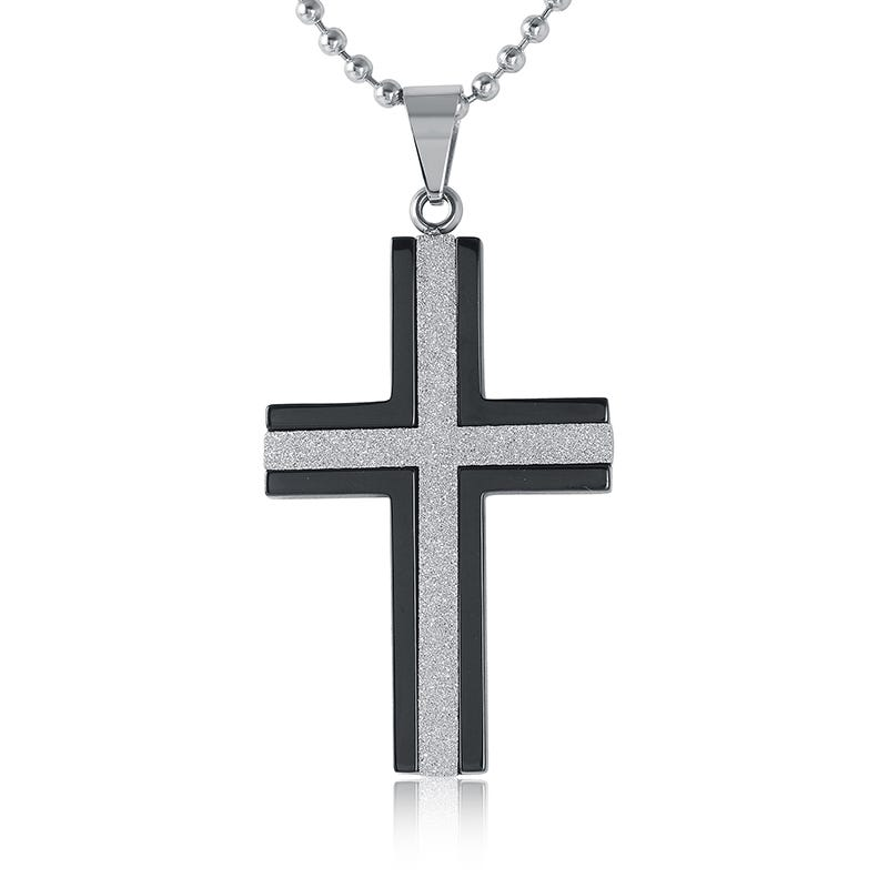 Diamond & Black Enamel Cross Necklace in Stainless Steel