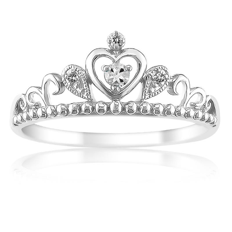 Princess White Topaz & Diamond Tiara Ring in Sterling Silver