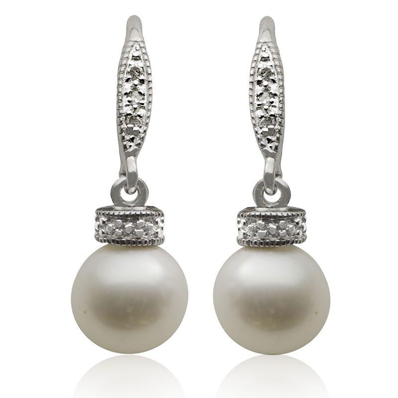 Freshwater Pearl & Diamond Drop Earrings in Sterling Silver