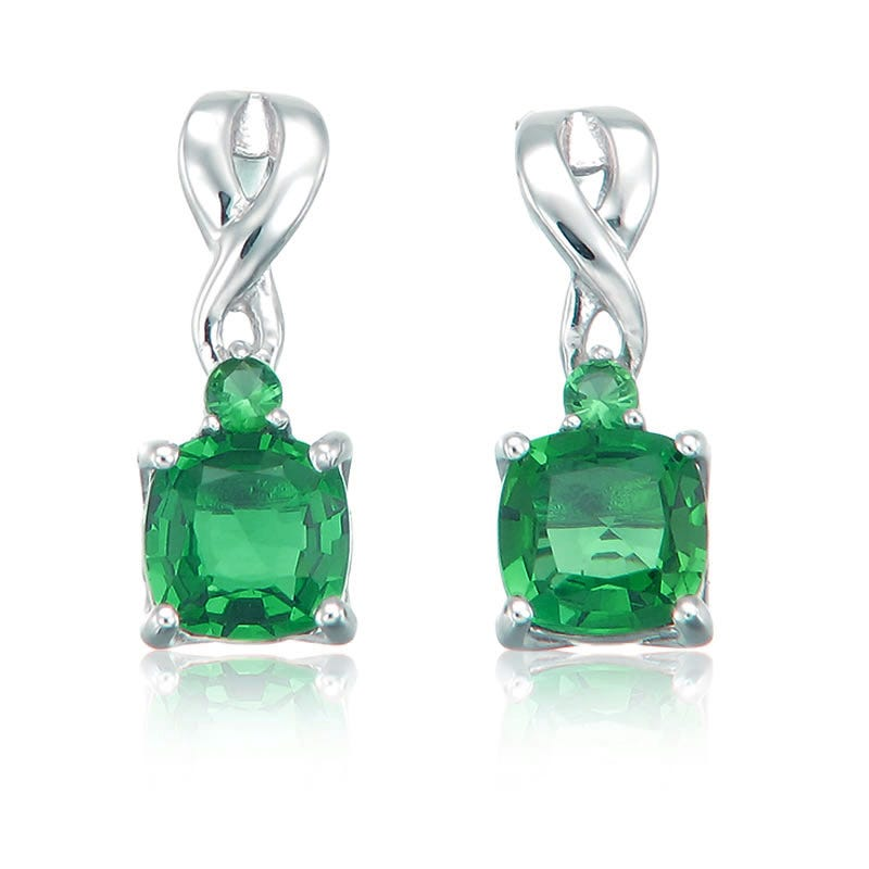 Created Emerald Drop Twist Earrings in Sterling Silver