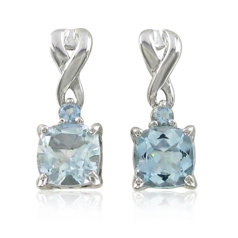 Aquamarine Drop Twist Earrings in Sterling Silver