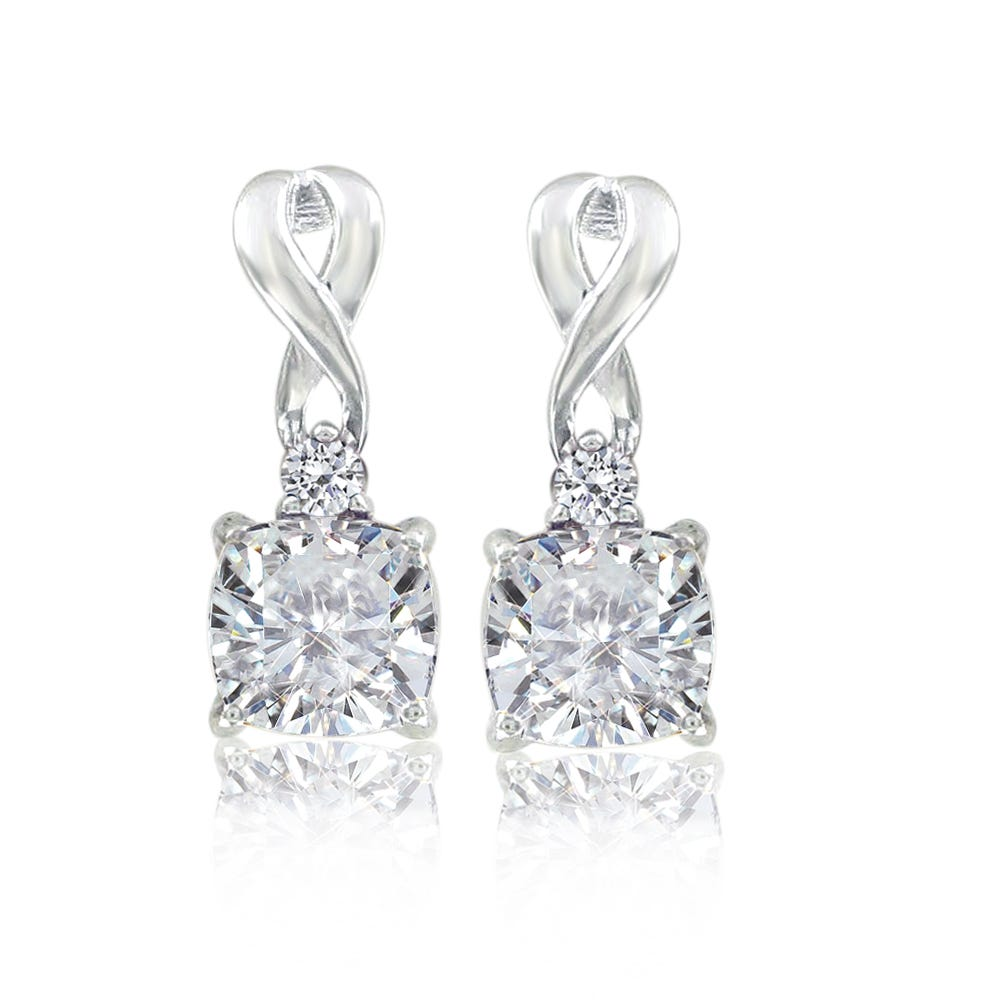 Created White Sapphire Drop Twist Earrings in Sterling Silver