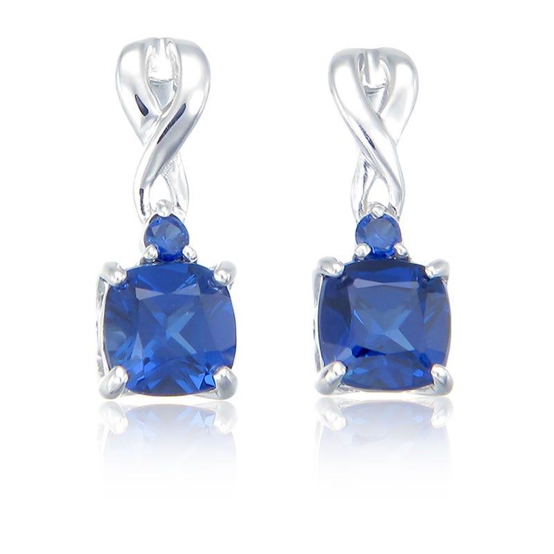 Created Sapphire Drop Twist Earrings in Sterling Silver