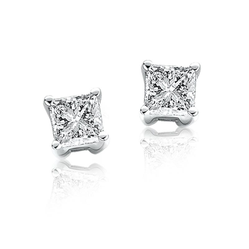 Princess-Cut Diamond Solitaire Earrings 1ctw.