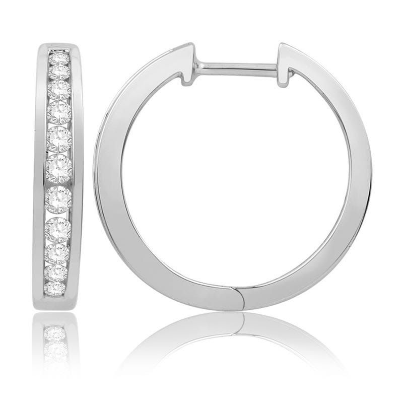 Round Channel Diamond Hoop Earrings ½ctw. 10k White Gold