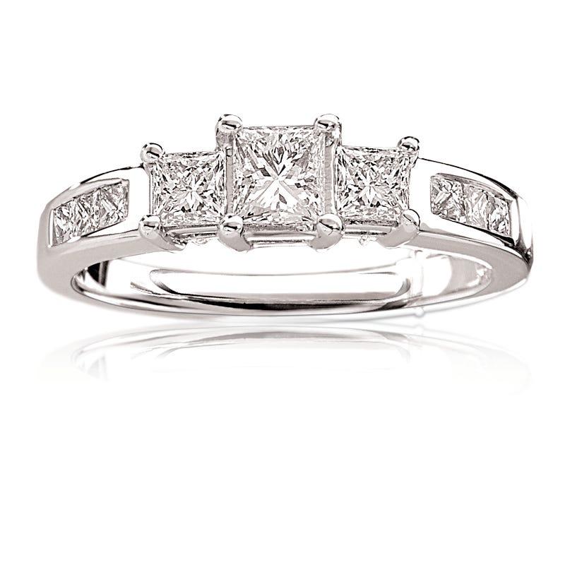Eva. Diamond Princess-Cut Three-Stone 14K White Gold Engagement Ring