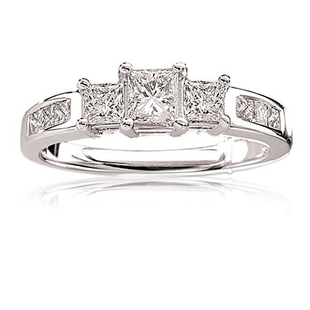 Eva. Princess-Cut Three-Stone Engagement Ring