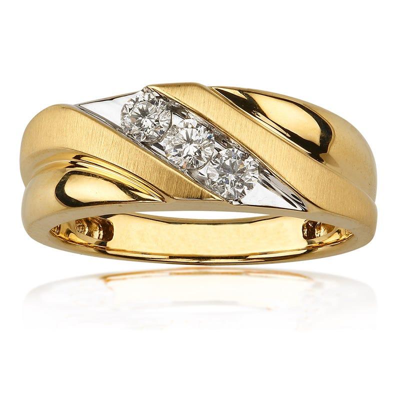 Diamond Satin & Polished Wedding Band