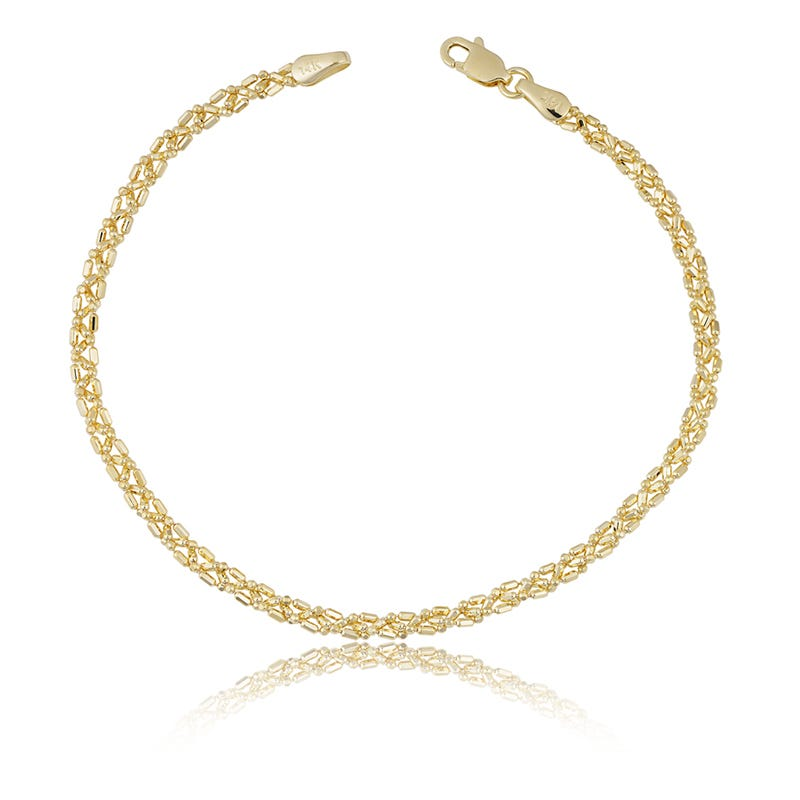 Twisted Ball Bracelet in 14k Yellow Gold