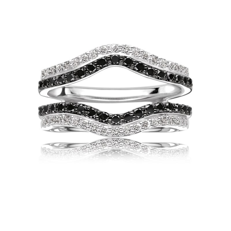 Black & White Diamond 5/8ct. Engagement Ring Insert Wrap in 14k White Gold