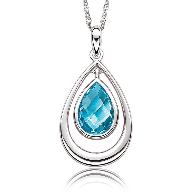 Pear Blue Topaz Pendant in Sterling Silver