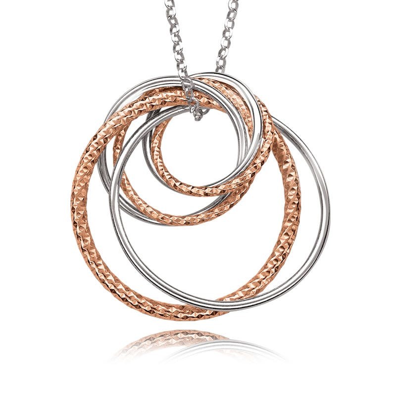 Rose Gold Plate Triple Circle Pendant
