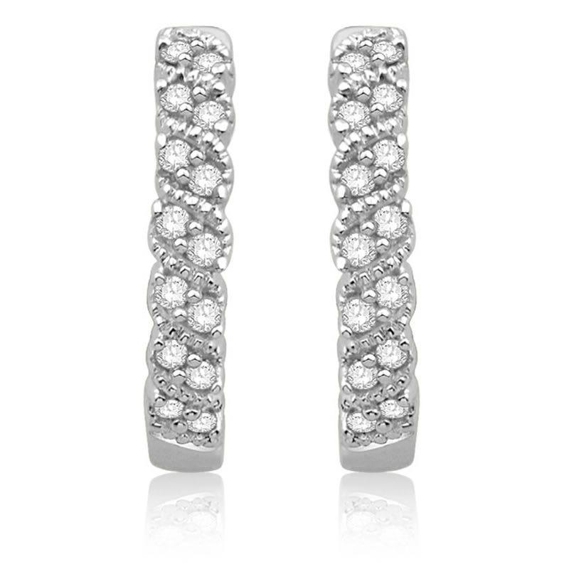 Hoop Milgrain Detail Diamond Earrings