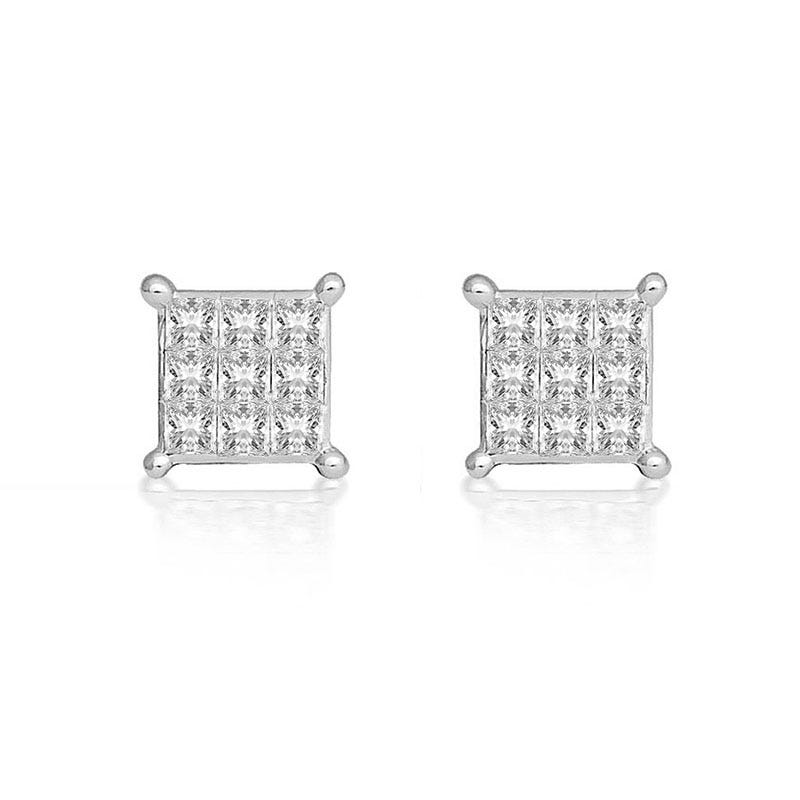 Diamond Princess-Cut Cluster ½ct. Stud Earrings in 10k White Gold