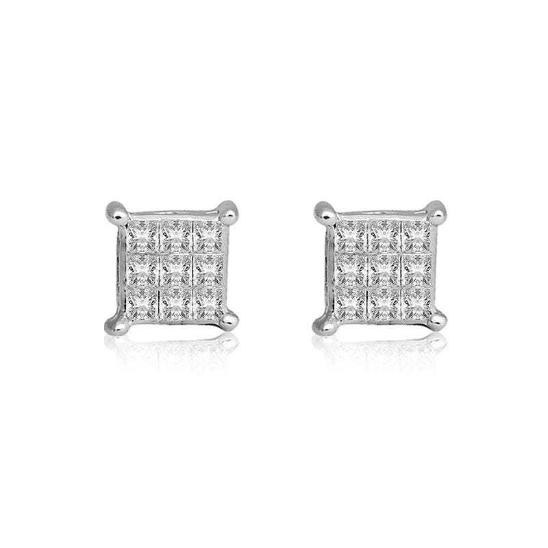 Diamond Princess-Cut Cluster ¼ct. Stud Earrings in 10k White Gold