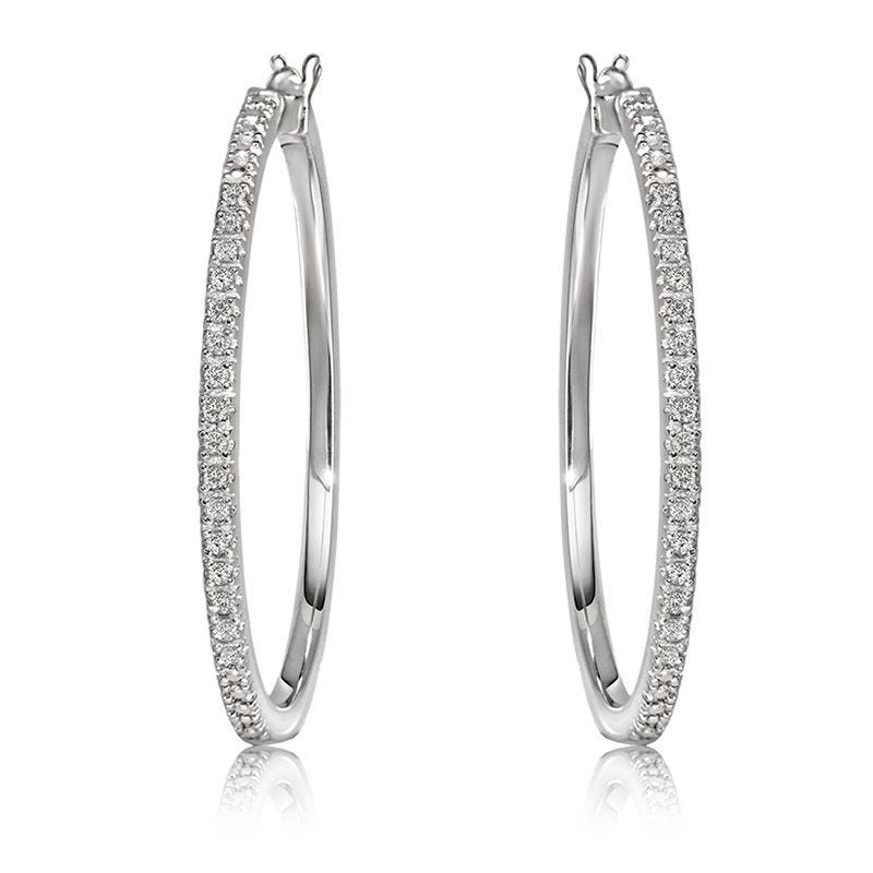 Diamond 1/2ctw. Hoop Earrings in Sterling Silver