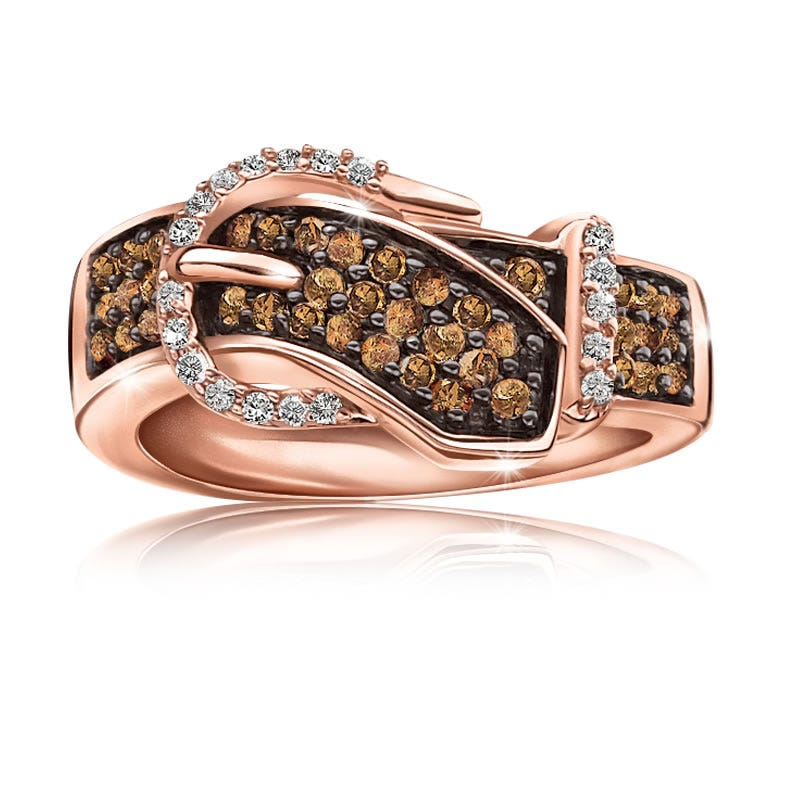 Genuine ½ ct. Champagne & White Diamond Buckle Ring in 10k Rose Gold