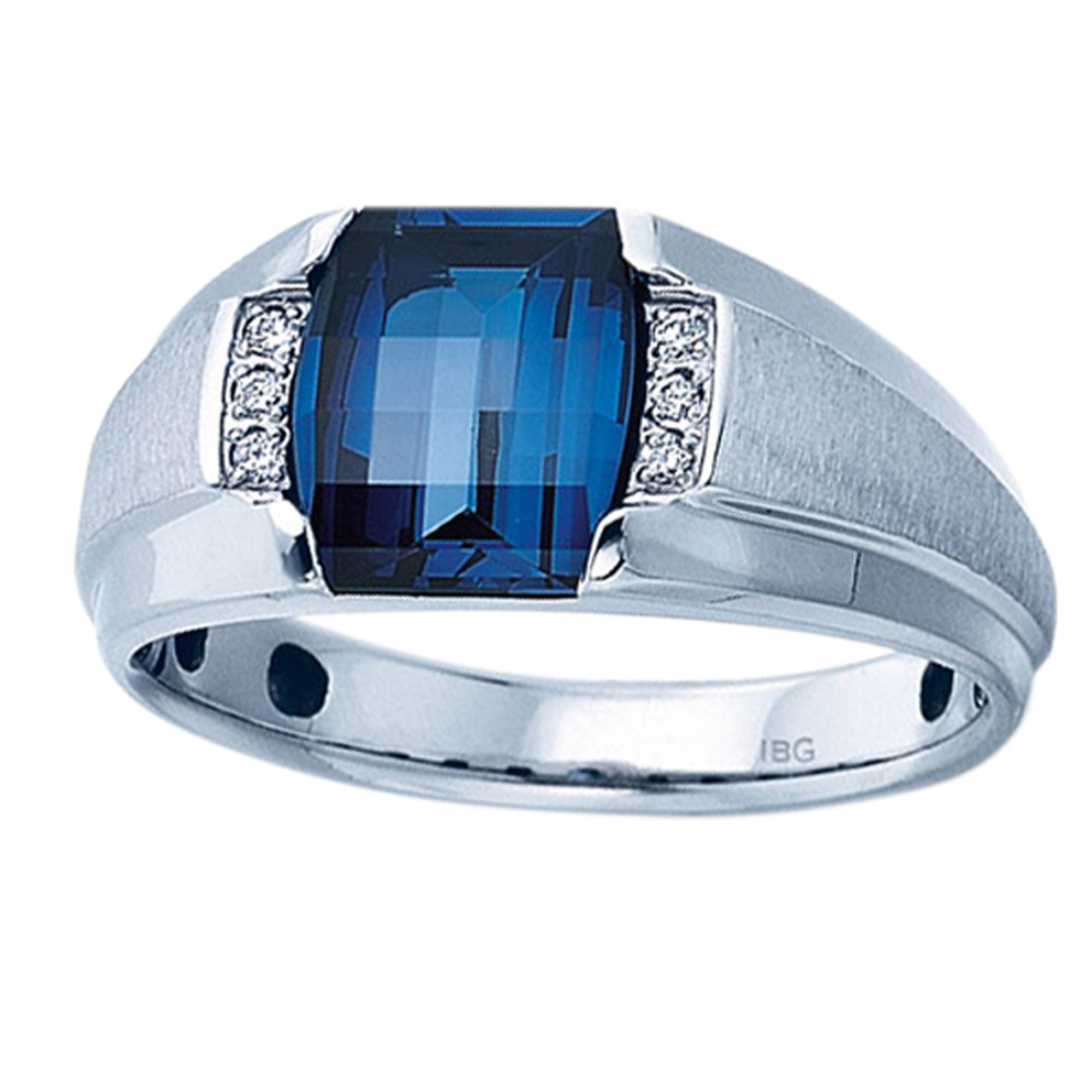 IBGoodman Men's 10k White Gold Created Sapphire & Diamond Ring