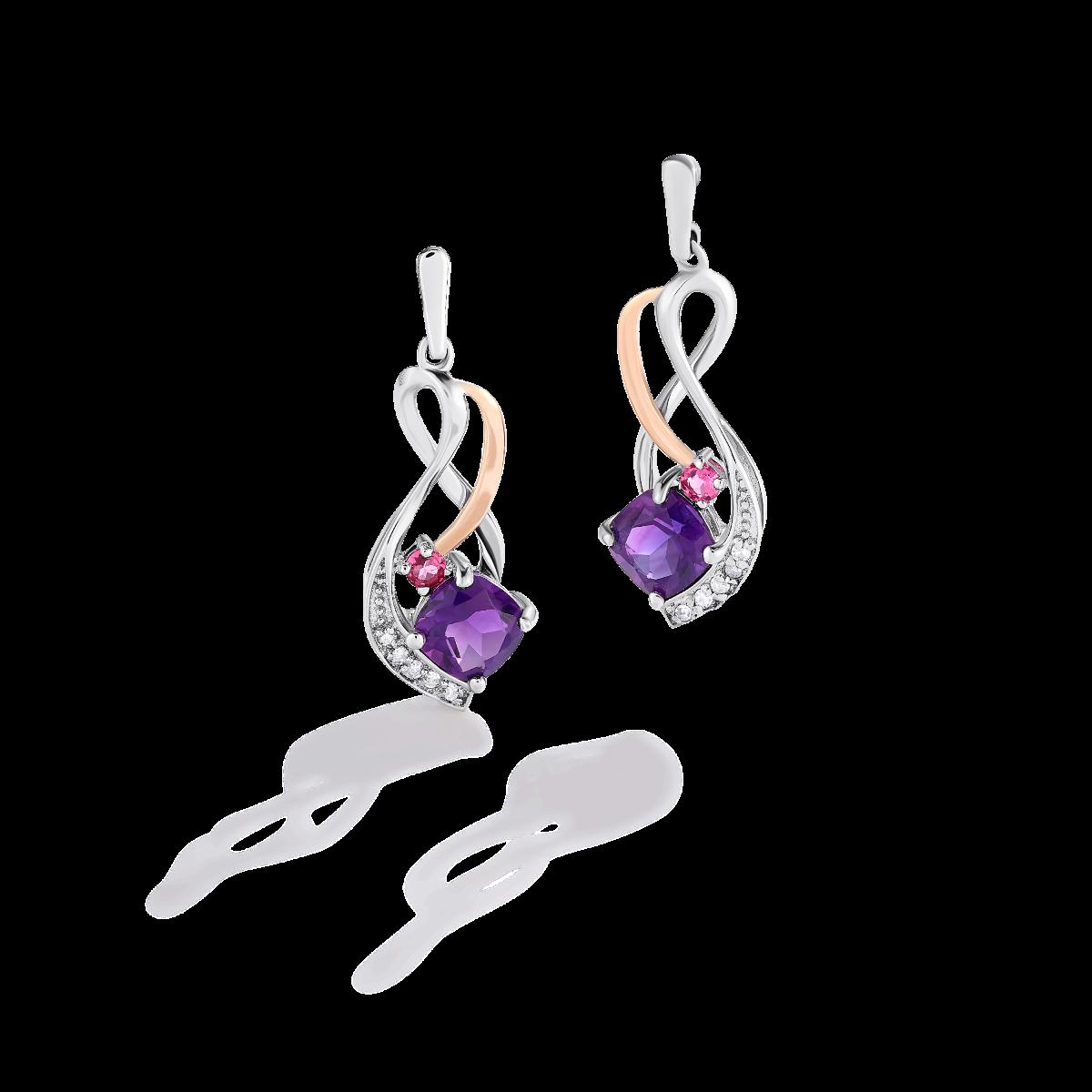Amethyst & Pink Tourmaline Cushion-Cut Drop Earrings