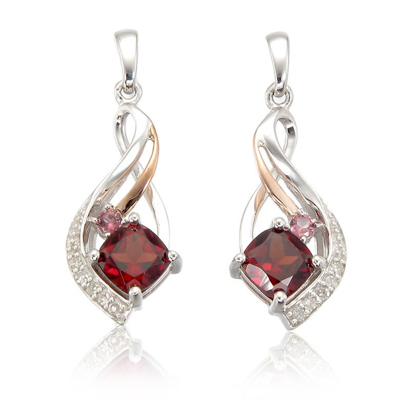 Garnet, Pink Tourmaline & Diamond Drop Earrings