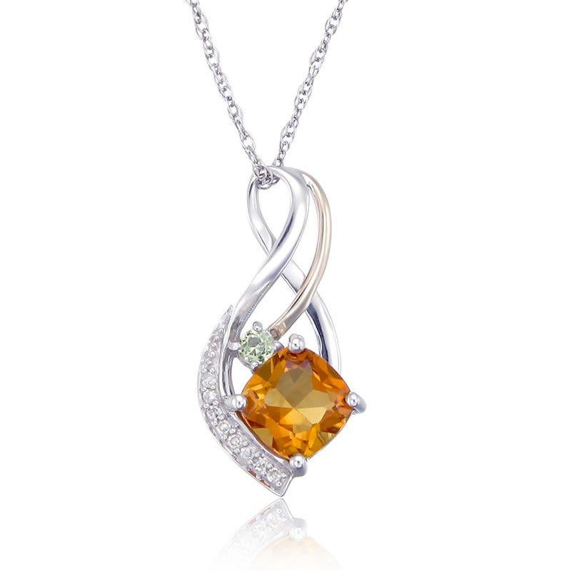 Citrine, Peridot & Diamond Pendant
