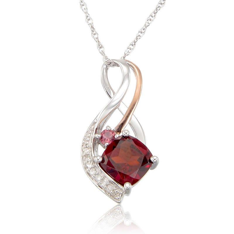 Garnet, Pink Tourmaline & Diamond Pendant