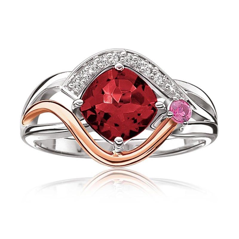 Garnet, Pink Tourmaline & Diamond Ring