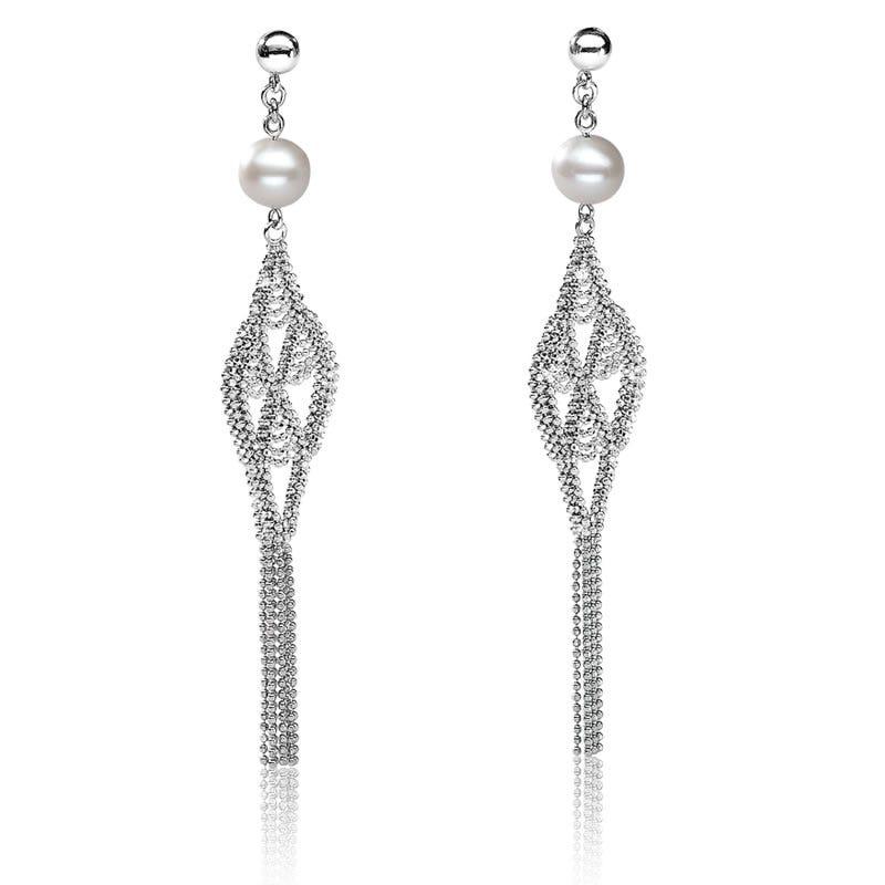 Vintage-Inspired Pearl & Sterling Silver Dangle Earrings