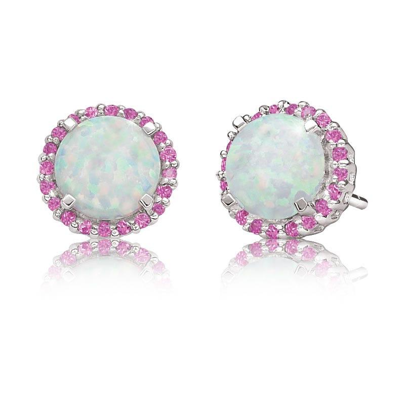 Created Opal & Pink Sapphire Stud Earrings