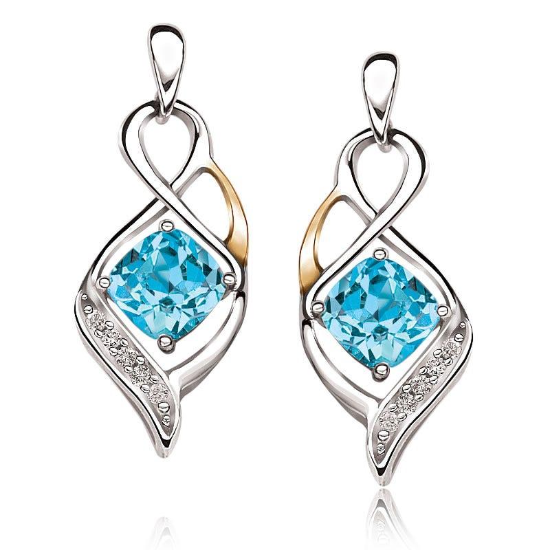 Blue Topaz & Diamond Drop Earrings