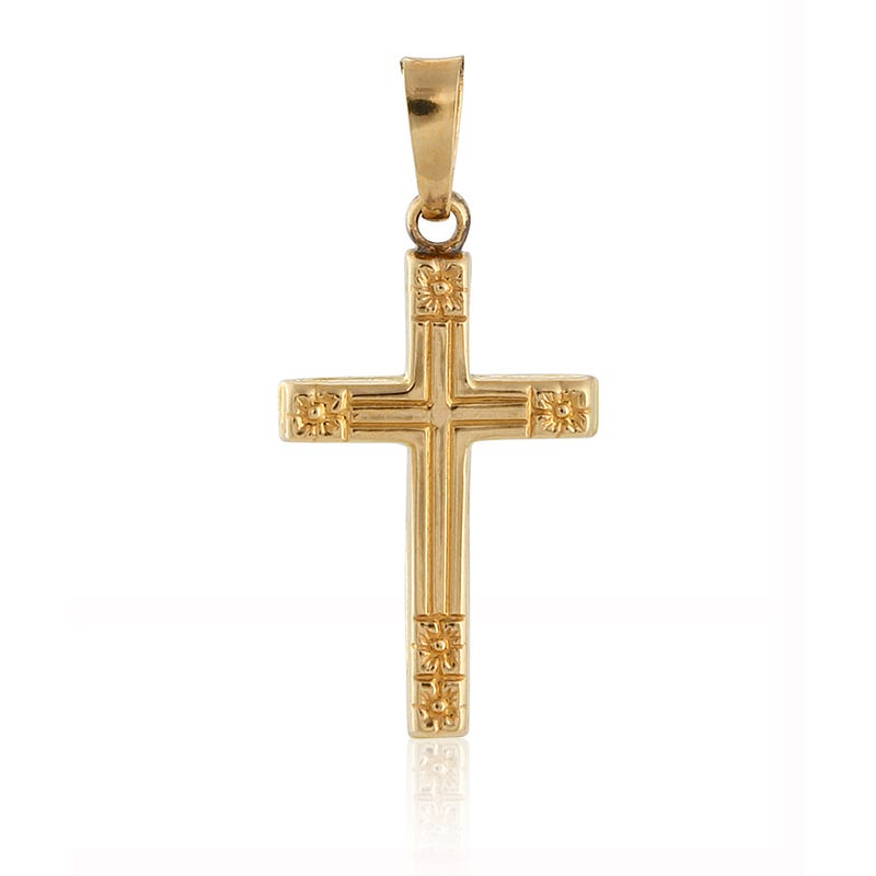 Religious Floral Tip Cross Pendant in 14k Yellow Gold