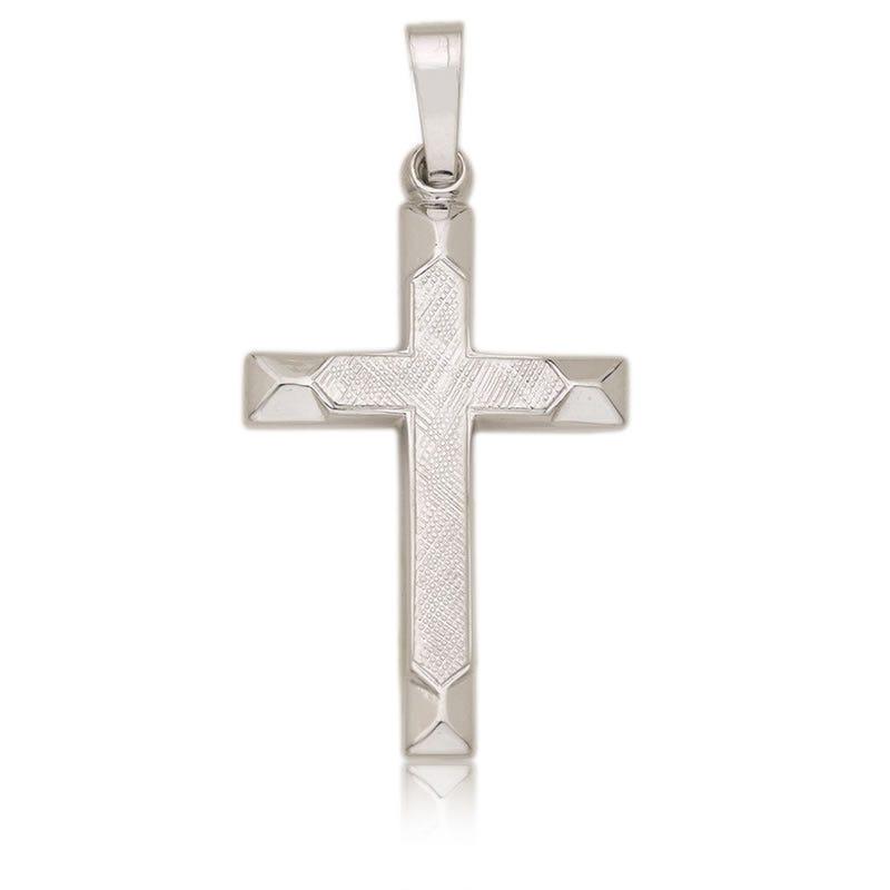 White Gold Cross Religious Pendant