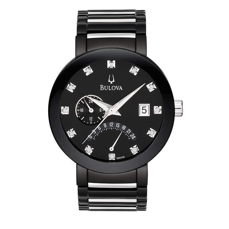 Bulova Men's Diamond Black Stainless Steel Bracelet Watch