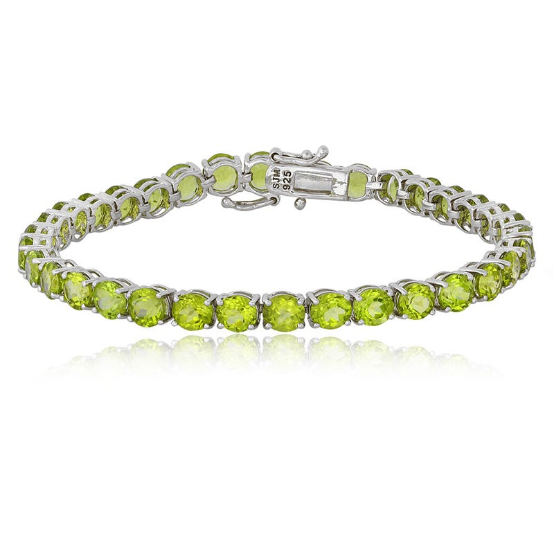 Green Peridot Gemstone Bracelet in Sterling Silver