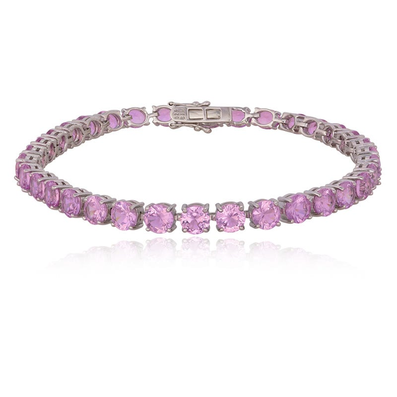 Created Pink Sapphire Gemstone Bracelet