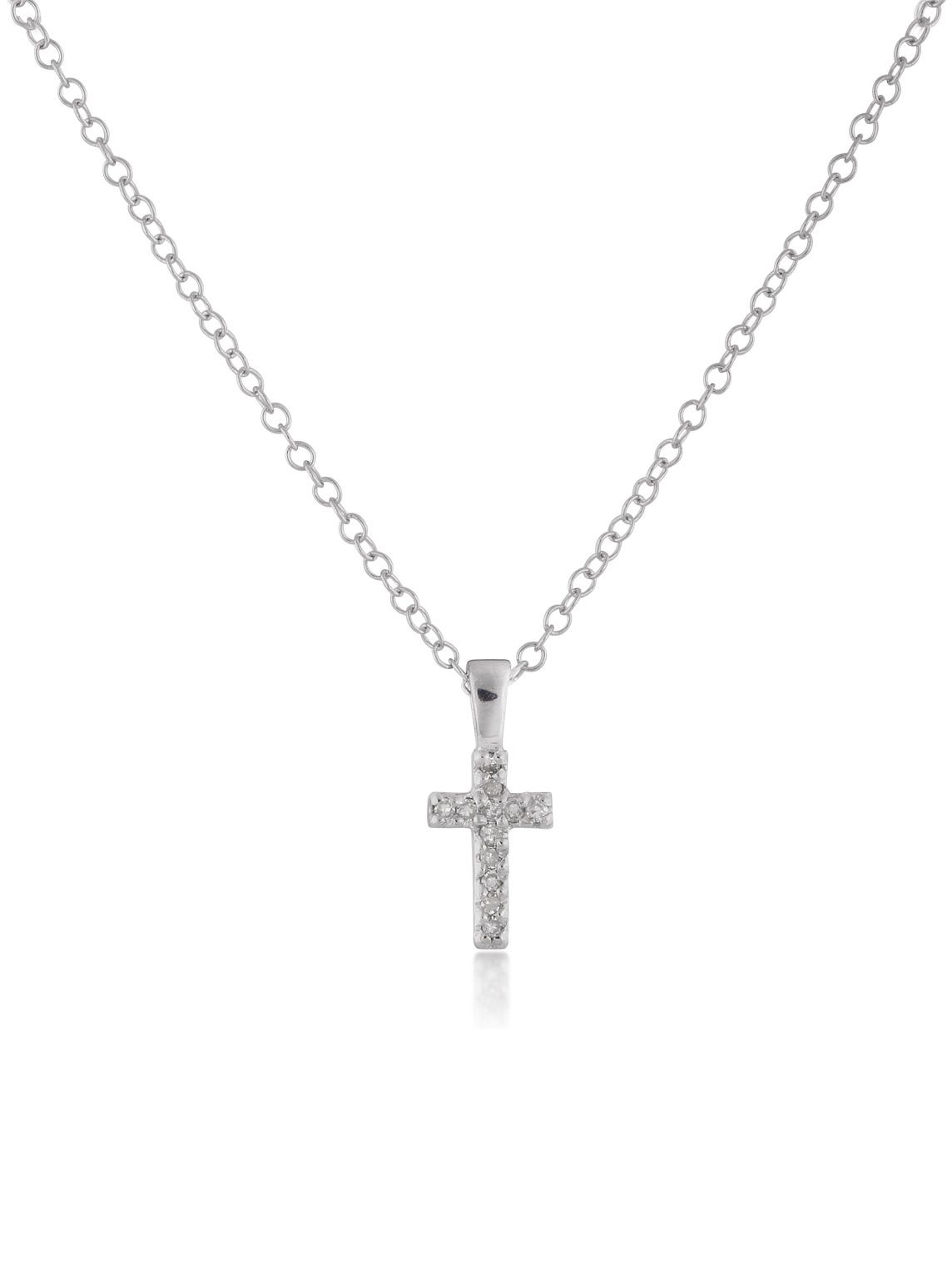 Diamond Cross Pendant Children's Necklace in Sterling Silver 15